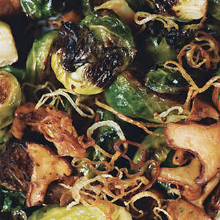 Brussels Sprouts with Shallots and Wild Mushrooms.