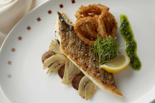 Murano_seabass - A sea bass dish at Celebrity Cruises's Murano restaurant.