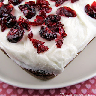 White Chocolate Cranberry Bread with Cream Cheese Frosting.