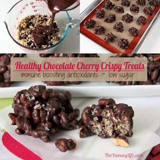 Healthy Chocolate Cherry Almond Crispy Treats.