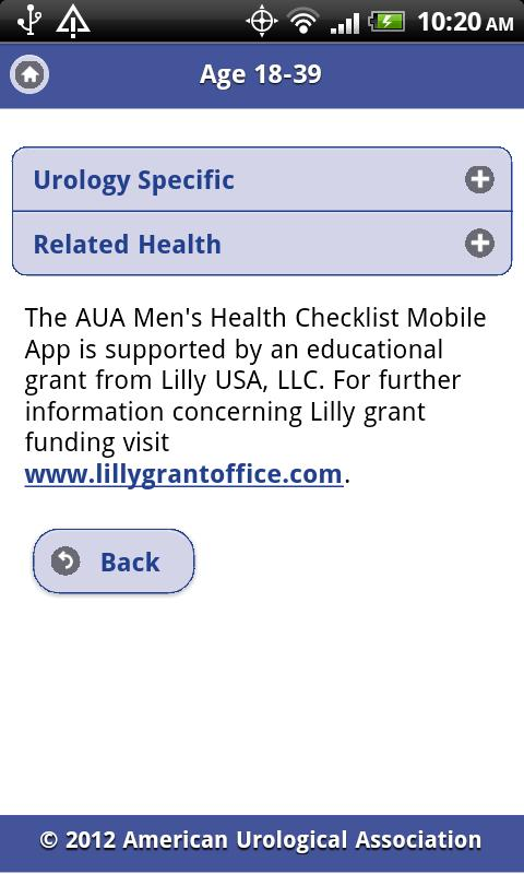 AUA Men's Health Checklist - screenshot