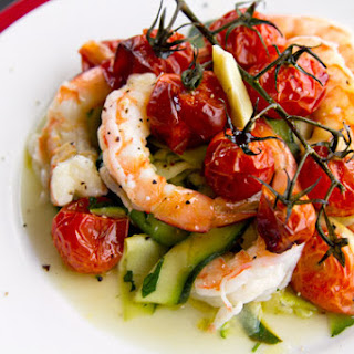 Garlic & Saffron Olive Oil Poached Prawns with Warm Zucchini.