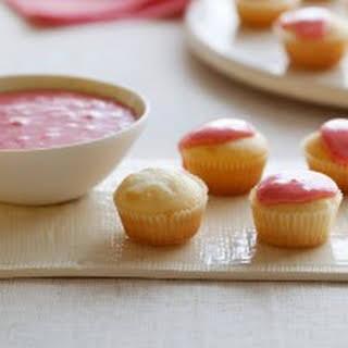 Mascarpone Mini Cupcakes with Strawberry Glaze.
