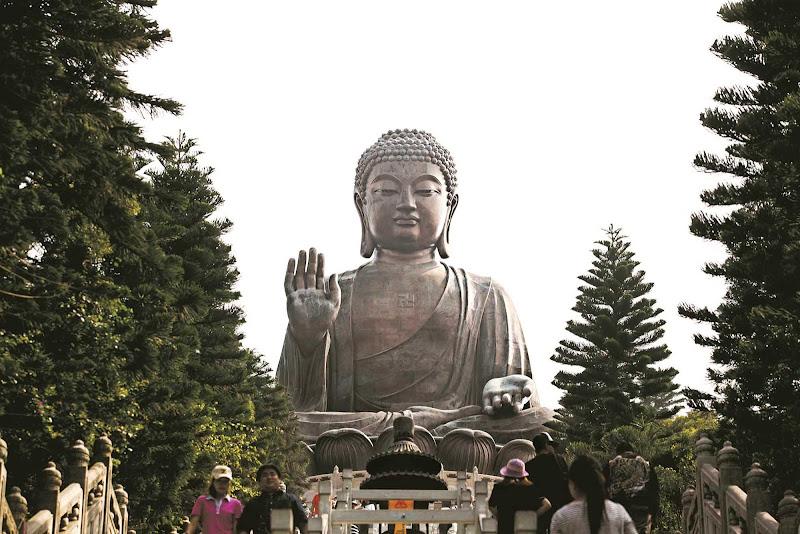 The giant bronze statue of Buddha on Lantau Island, Hong Kong.