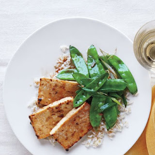 Broiled Tofu and Snow Peas.