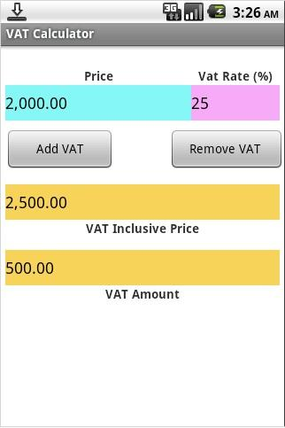 VAT Calculator- screenshot