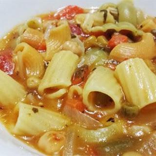 Garbanzo Tomato Pasta Soup.