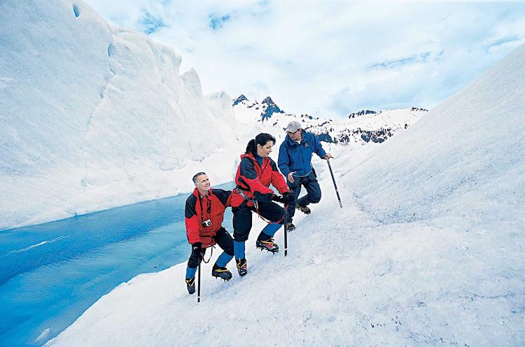 Princess Cruise passengers on a glacier hike in Alaska.