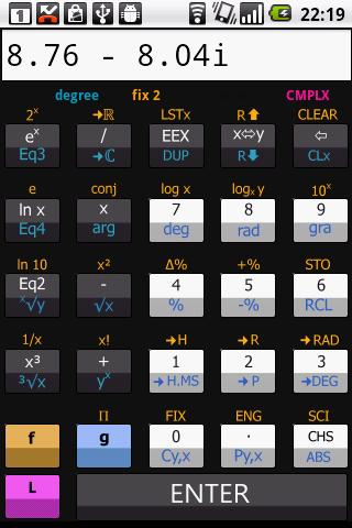 Scientific RPN calculator- screenshot