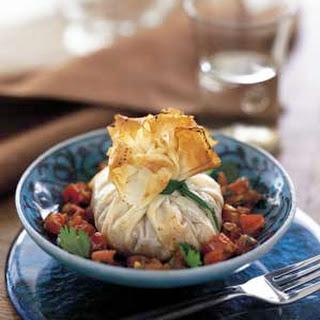 Shrimp Phyllo Purses with Tomato Chermoula Sauce.