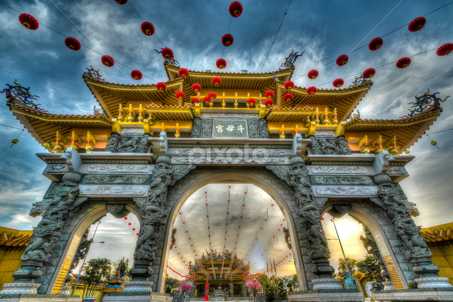 HDR of the Temple Gate by Ah Chun - Buildings & Architecture Places of Worship ( temple, god, sky, hdr, landscape, gate )