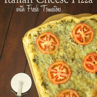 Italian Cheese Pizza with Fresh Tomatoes.