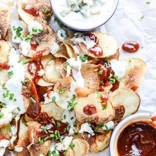 Homemade Potato Chips with Sriracha BBQ Sauce and Greek Yogurt Blue Cheese.