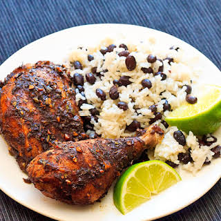 Jamaican Jerk Chicken with Coconut Rice and Beans.