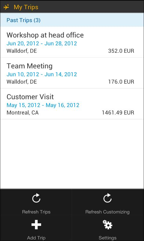 SAP Travel Expense Report- screenshot