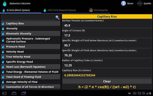 Hydraulics Calculator Tablet