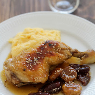 Chicken with Champagne, honey, dried fruit and polenta..