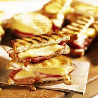 Grilled Fontina Sandwiches with Prosciutto and Pear.