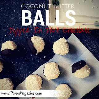 Paleo Coconut Butter Balls Dipped In Dark Chocolate