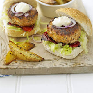 Pork Burgers With Herby Chips.