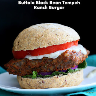 Vegan Buffalo Tempeh Sandwich with Black Bean Tempeh And Celery Ranch. Soy-free.