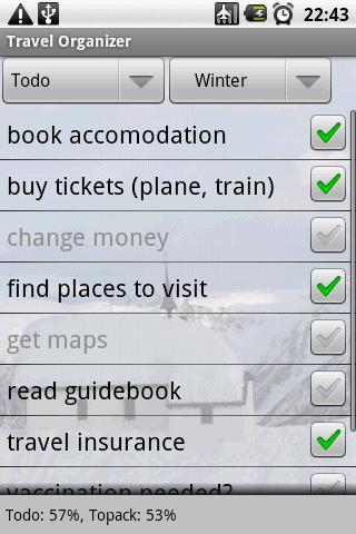 Travel Organizer - screenshot