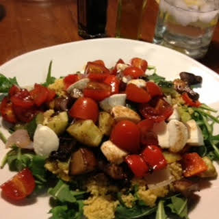 Roasted Vegetable Couscous with Marinated Tomatoes.