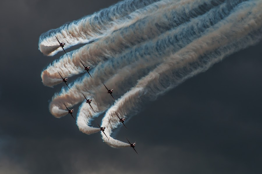 Red Arrows  by Mark Usher - Transportation Airplanes ( arrows, red, farnbrough, aircraft, 9, planes,  )