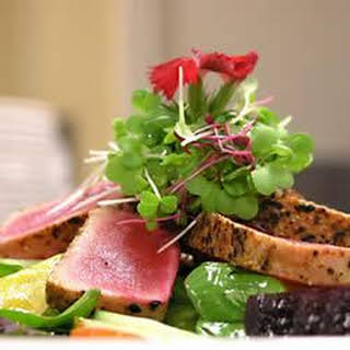 Pan Seared Ahi Tuna, Baby Beets and Watercress Salad with Ginger Vinaigrette.