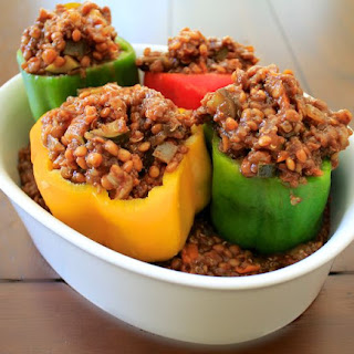 BBQ Lentil & Veggie Stuffed Bell Peppers