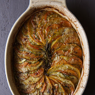 Root-a–touille a Ratatouille made with root vegetables.