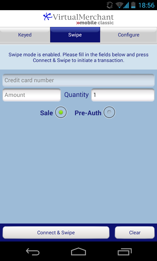 VirtualMerchant Mobile Classic - screenshot