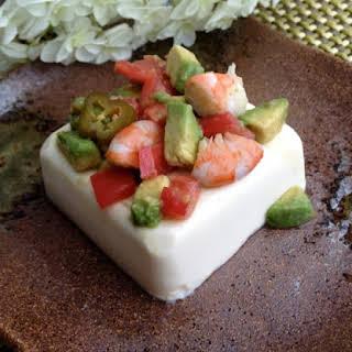 Quick Avocado Jalapeño Balsamic Shrimp on Tofu.