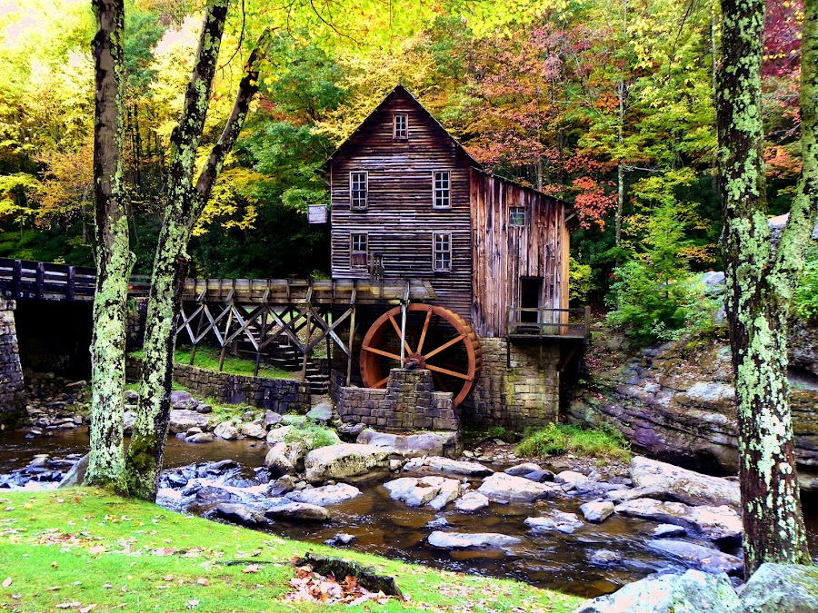 Babcock's Glade Grist Mill by Melanie Goins - Landscapes Forests ( mill, stream, wheel, trees, rocks,  )