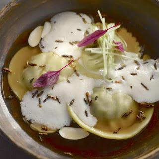 Foie Gras Dumplings With Cilantro Beef Consommé.