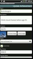 Screenshot of Personal Achievements