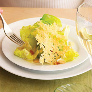 Butter Lettuce Salad with Parmesan Tuiles and Almonds.