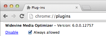 Screenshot of Chrome plugin enabled