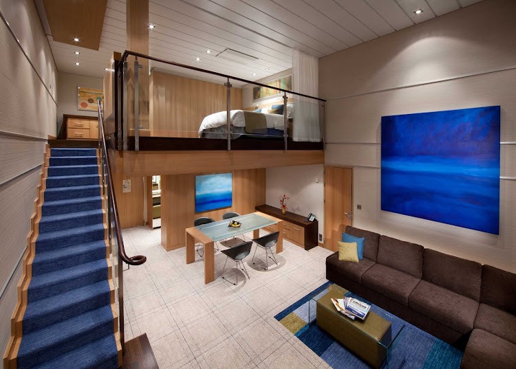 Book a Sky Loft Suite on Oasis of the Seas for a two-story room with panoramic views, master bedroom and bathroom, separate full bathroom, large private balcony with dining area and more.