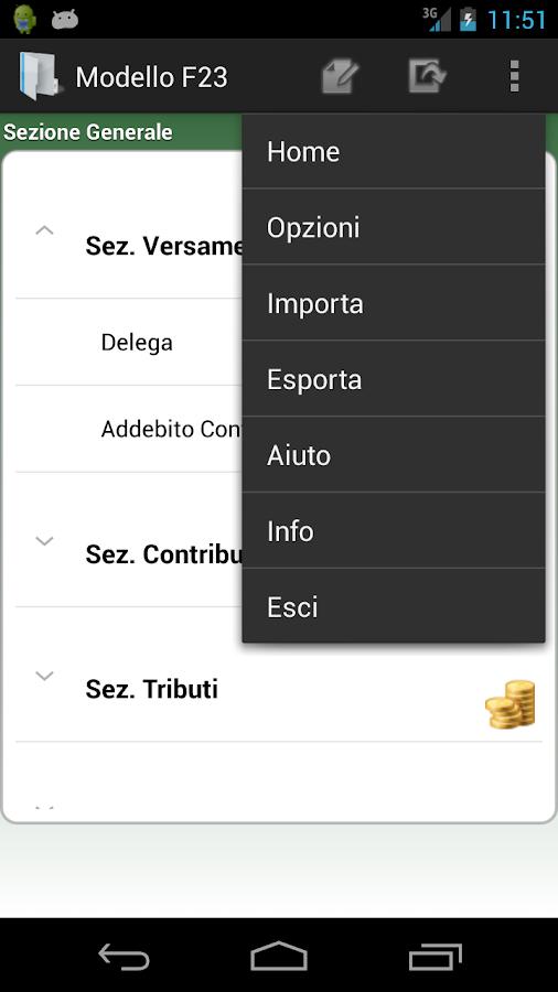 Modello F23- screenshot