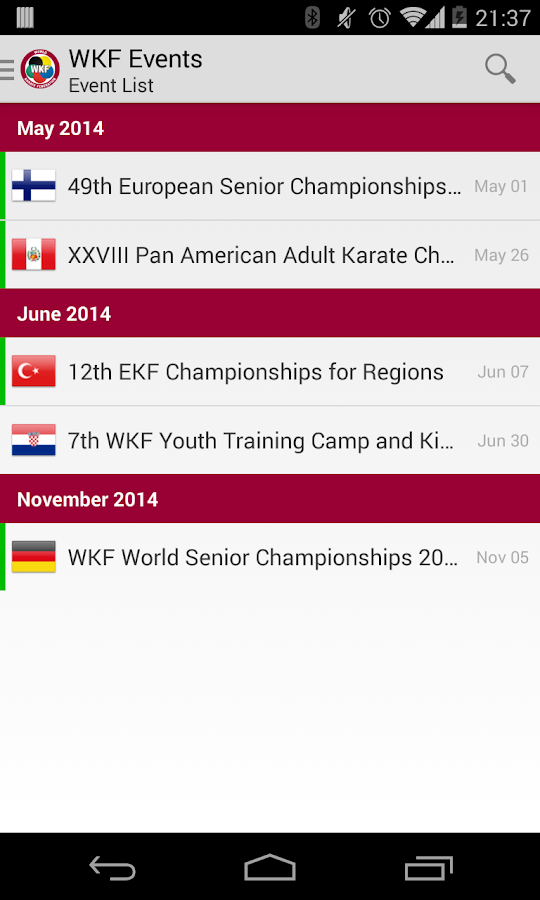 WKF Events- screenshot