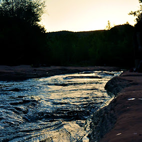 Glow by Ash Swetland - Nature Up Close Water ( water, stream, sunset, silhouette, red rock, sedona )