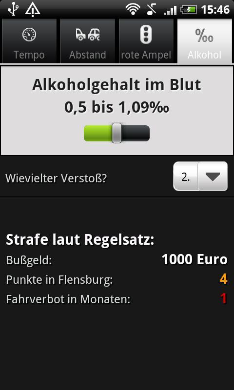 Bußgeldrechner- screenshot