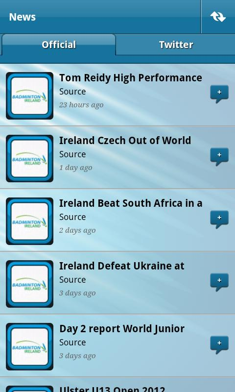 Badminton Ireland App- screenshot