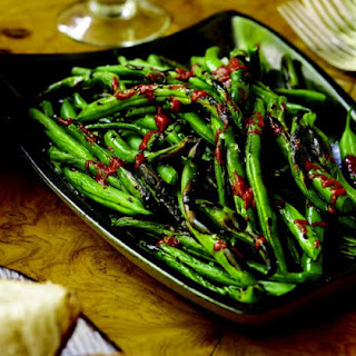 Grilled Green Beans With Harissa.