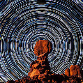 Balance Rock star trails by James McGinley - Landscapes Caves & Formations