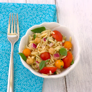 Orzo Pasta Salad with Tomatoes, Basil, & Mint.