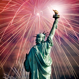 Celebrating Liberty by Alan Crosthwaite - Public Holidays July 4th ( statue of liberty, america, freedom, statues, new york, patriotism, usa, famous statues, liberty, statue, symbols, patriotic, fourth of july, american, explosion, independence, fireworks, celebration, day, celebrate, independence day, democracy )