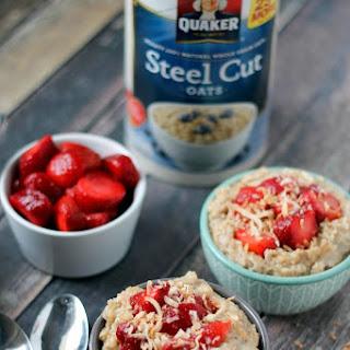 Slow Cooker Creamy Coconut & Strawberry Steel Cut Oats Recipe