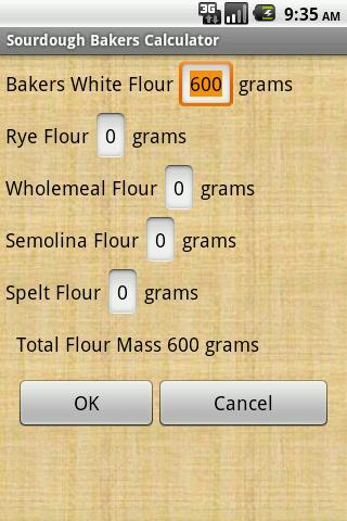 Sourdough Bakers Calculator - screenshot